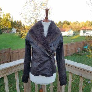 Jack Brown Faux Leather & Fur Jacket